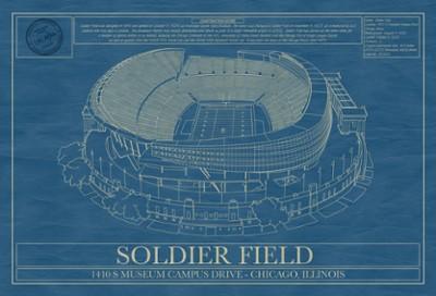 Soldier Field Stadium Blueprint Art