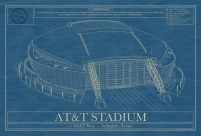 AT&T Stadium Blue Print Art