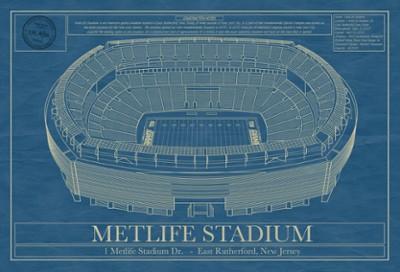 MetLife Stadium Blueprint Art